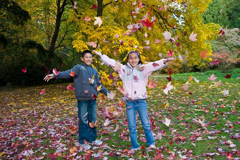 Alex and Julia enjoying the falling leaves