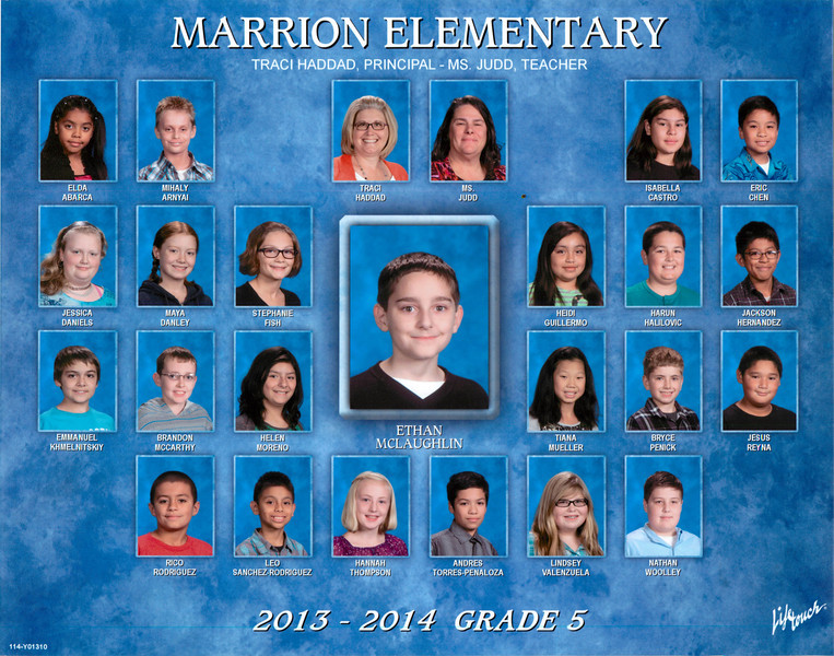 Ethan Fifth Grade Class Photo