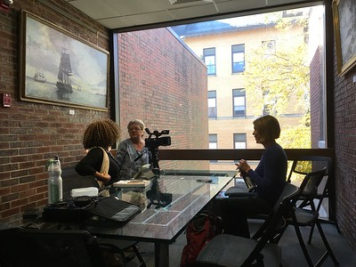 Creating a video about my daughter's experiences as she discovered that several of her father's ancestors were slave-owners in NH, and one was a slave trader.  JerriAnne Boggis, left, is Director of the Portsmouth Black Heritage Trail.