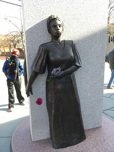 On the second day that we visited this memorial, I noticed that someone had added flowers in the hands of Mother Africa