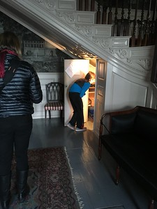 A staff member gave us a private tour of the house, including this tiny hidden closet (a la Harry Potter!) under the main stairs.  My grandson went in first and was surprised to discover that it had a back door, connecting into the formal parlor where he had just been viewing portraits of ancestors!