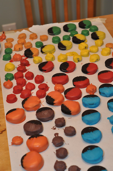 Eric Carle-inspired dots. Candy dipped oreos and mini-oreos