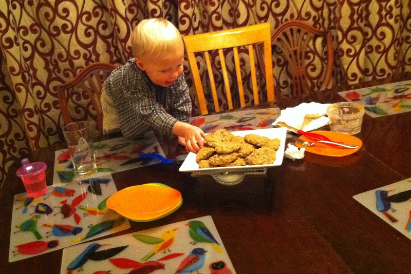 After his guests left his birthday dinner, I turned around to find Patrick helping himself to another birthday oatmeal-chocolate chip cookie
