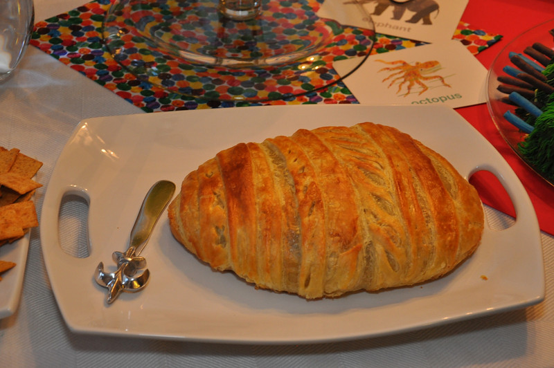 Very Hungry Caterpillar baked brie cocoon <br /> Patrick's 1st birthday