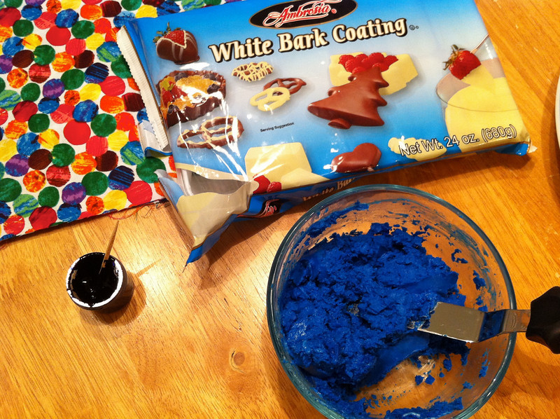 Lesson learned: do not add water-based color gel to candy or you get a big clump-mess