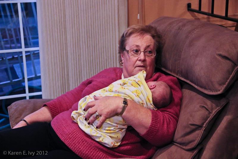 Mary Pult holding Quya Stewart