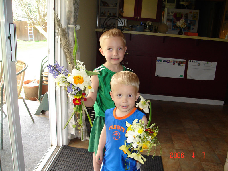 One of my thousands of bouquets picked for me by my little guys.  The chart in the back is the happy plate chart.