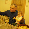 It's aperitif time.  Dad showing Lea how it's done.  Champagne for all!