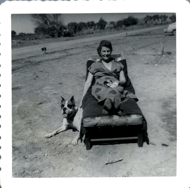 Alice Cuthbert with Sandys dog Michigan