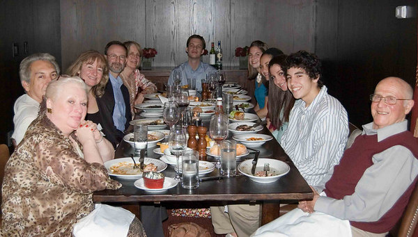 Bridget's family and us - dinner, Sunday night.  Left to right:  her Aunt (Mom's sister), Father, Mother, us, Bridget, Bridget's sister and brother, and grandfather, Mom's dad.