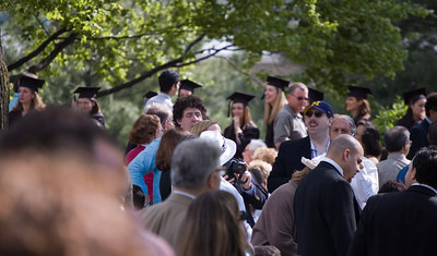 Graduates entering for Sunday morning's big graduation.  The sun shone just in time.