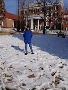 Jenny at Salem College in the snow!