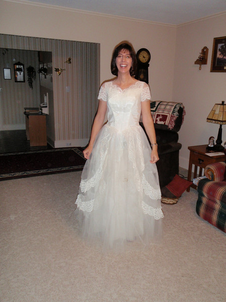 Full view of Sarah's wedding dress from 50 years ago!