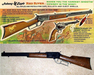 I remember one Christmas several of the neighbor boys and I received Johnny Eagle rifles for Christmas.  They were very realistic looking toys and they operated just like the real thing.