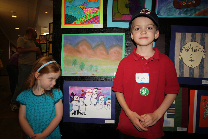 Hayden's first art show!  His picture is the snowmen.