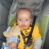 Holding his teddy getting back from a stroll:)<br /> 10/31/12