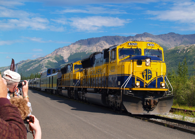 Alaska Railroad pulling into the Denali National Park Depot, with Randy and Patty on board.