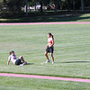 Girls stretching on infield