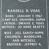 Engraved in granite on Killed in Action wall at Eden Prairie Veterans Memorial