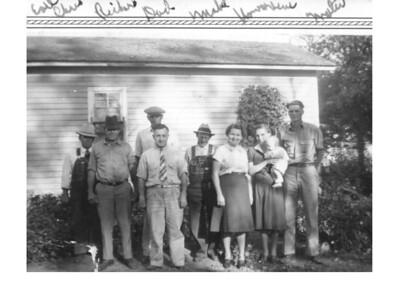 Earl, Chris, Russell?, Clarence, Jens, Mabel, Howardene (with Darlene), Walter 1939