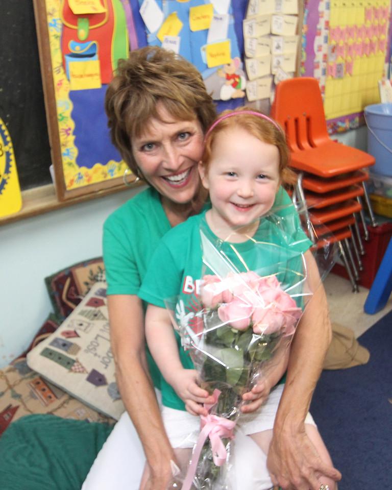 Reagan and her teacher Miss Lombardo.