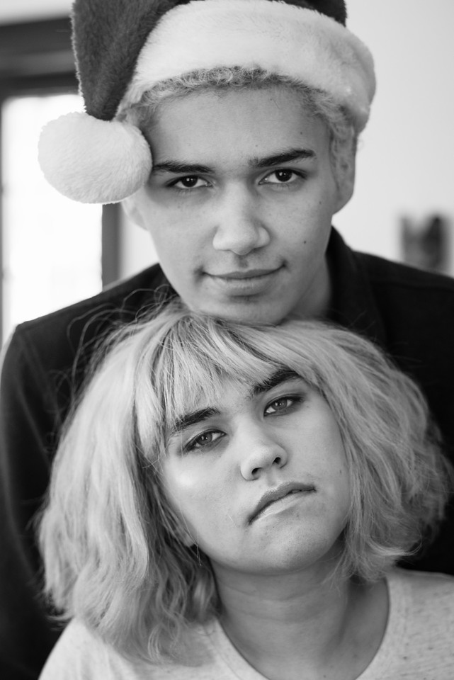 Holiday portrait, Jake and Elia #Pentax #blackandwhite #monotone #77limited #santa
