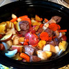 The Hardings gave me my first-ever crockpot for Christmas, so here is my first attempt at cooking in it - Beef Stew   Shown here at the start of cooking