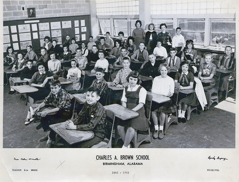 """6th Grade"" (Terry Yarbrough far left front) Charles A. Brown School"