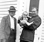 Great grandfather John Francis Yarbrough and John Wallace Owen holding 2nd cousin once removed Bruce Manning Owen