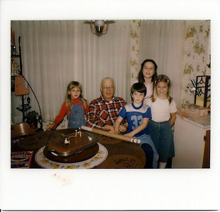 Lorinda, Grandpa Peak, Chris, Michelle, & Melissa. Grandpa's Birthday.