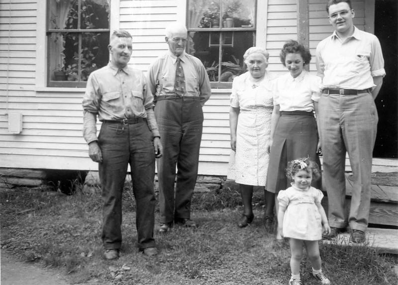 1949 Washburns Raymond, Great Grampa, Great Grandma, Sophie, Ellis, Carol in Vermont