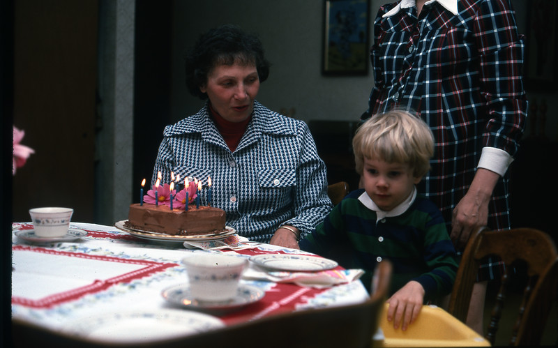 1976 Slide 12-02 Birthday with Nana and Mom