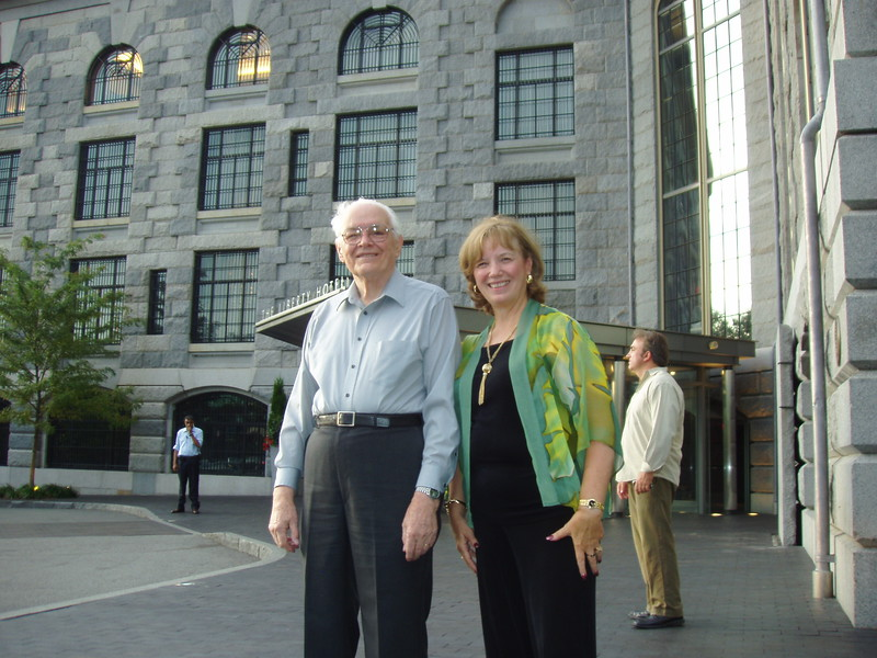 2009-08 P1015416 Ellis and Carol outside the Charles Street Jail, now Liberty Hotel