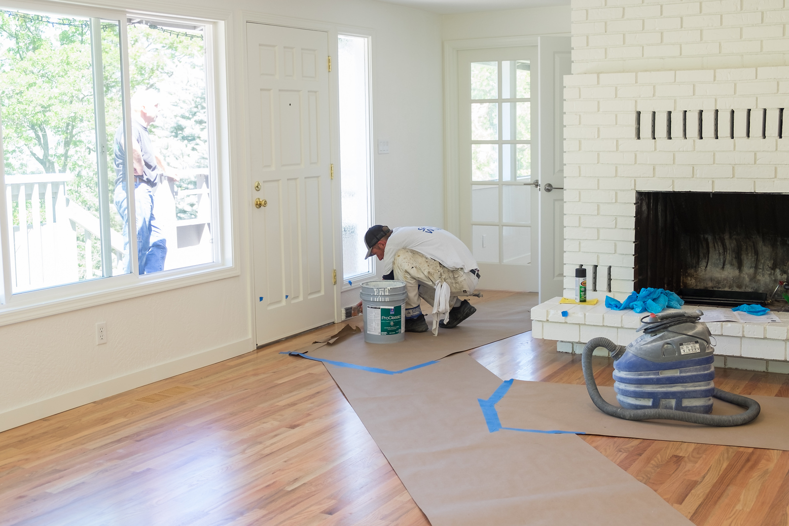Painters were in to finish the baseboard and to touch up.