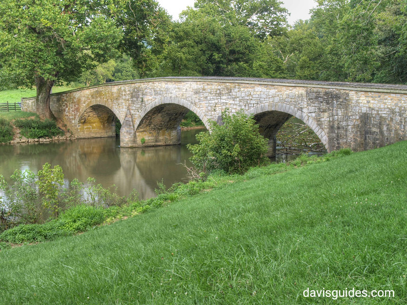 "Burnside's Bridge at Antietam with the ancient ""witness tree"" on left bank"