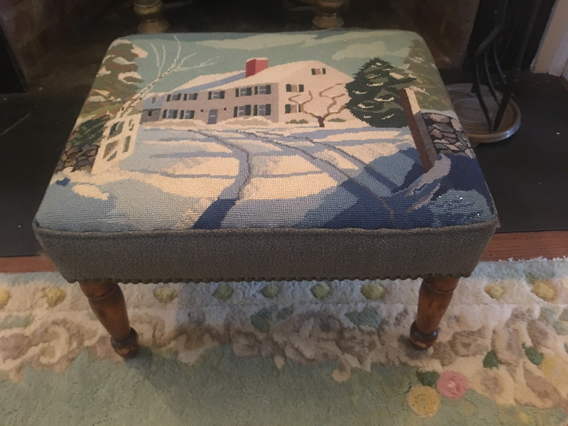 needlepoint bench of house