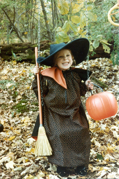 And that fall, we moved to Wilton.  For your first Halloween there, I sewed you a witch costume.