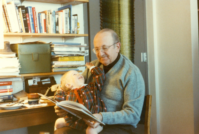 Jack reading you a story, in our apartment in Conner House at MIT.  He had that mustache for most of your childhood.
