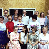 front: Pearl McGuire, Jeannete & CarolynVoas, Ruth Voas, Catherine Voas; middle: Marge Ellerbeck, Vadis Voas, Marjorie Mayer, Jean Myers, Carolee Voas, Freda Voas, Clif Voas; back: (all Voas surnames) Dwaine, Don, Dick, Robert, Sheryl, Duane