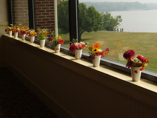 Joe's flowers by the picture windows, looking out at the bay.