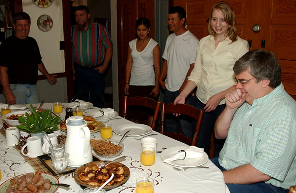 Ready for breakfast at the beautiful table of Schantz Haus B&B (Bill & Jeanette's) - Bill, Dan M., Lauren, Rene, Lisa, Rob