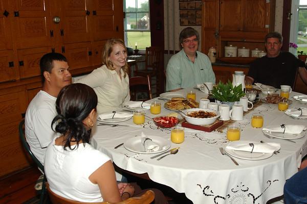Ready for breakfast at the beautiful table of Schantz Haus B&B (Bill & Jeanette's) - Lauren, Rene, Lisa, Rob, Bill
