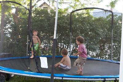 Zeke, Cio & Isaiah on the trampoline