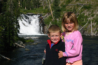 Christopher and Sydney at Lewis Falls in Yellowstone National Park.
