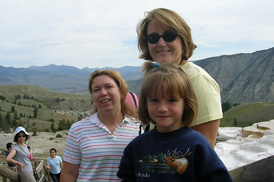 Aunts Tracy and Betsy with Sydney at Mammoth Hot Springs