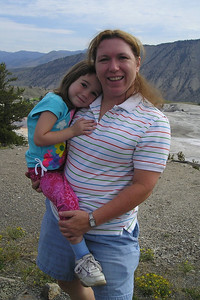 Tracy and Rachel at Mammoth Hot Springs