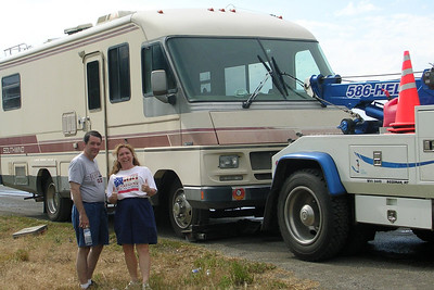 Unfortunately, John and Tracy's motorhome threw a rod on the way to Yellowstone National Park.
