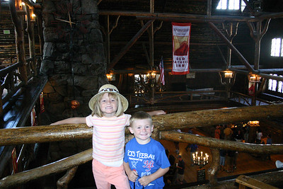 Sydney and Christopher inside the beautifully constructed Old Faithful Inn.