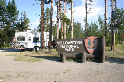 Our rig about to enter Yellowstone National Park through the Sourth Entrance.