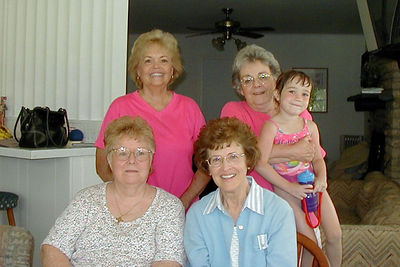 """Back L to R - """"Margaret Moody, Mary Clare Kane and Rachel Kane.  Front L to R - Myra Kane and Peggy McCampbell.  2005 Kane Family Reunion"""